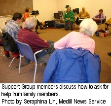 Support Group members discuss how to ask for help from family members - Photo by Seraphina Lin, Medill News Service