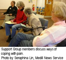 Support Group members discuss ways of coping with pain - Photo by Seraphina Lin, Medill News Service